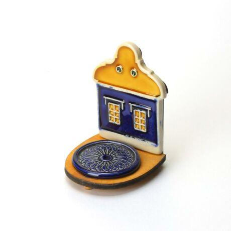 Kerámia mécsestartó kék sárga házikó