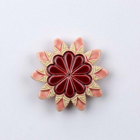 Kerámia virág - hegyes szirmú, bordó - rózsaszín