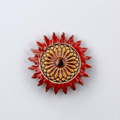 Kerámia napraforgó - piros- arany