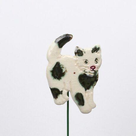 Beszúrható kerámia figura - foltos cica