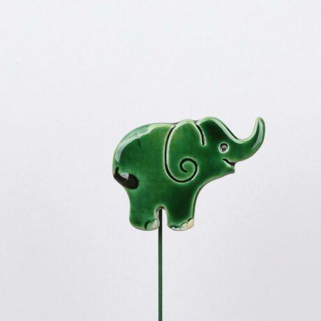 Beszúrható kerámia figura - zöld elefánt
