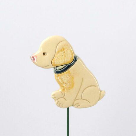 Beszúrható kerámia figura - fehér kutya