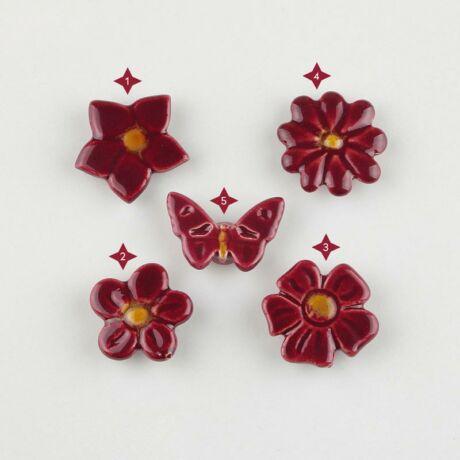 Bordó mini kerámia virág