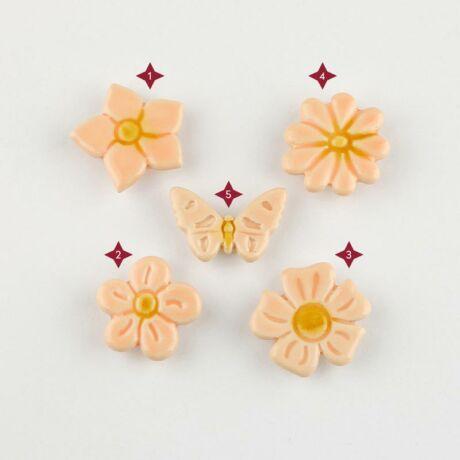 Barack színű mini kerámia virág
