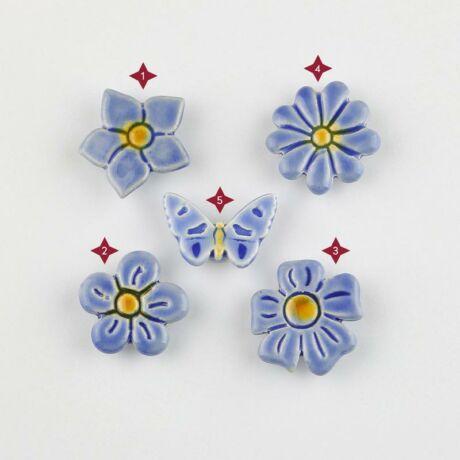 Világoskék mini kerámia virág