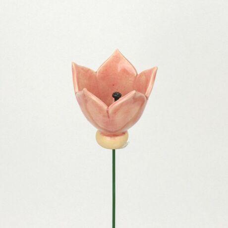 Rózsaszín kerámia tulipán