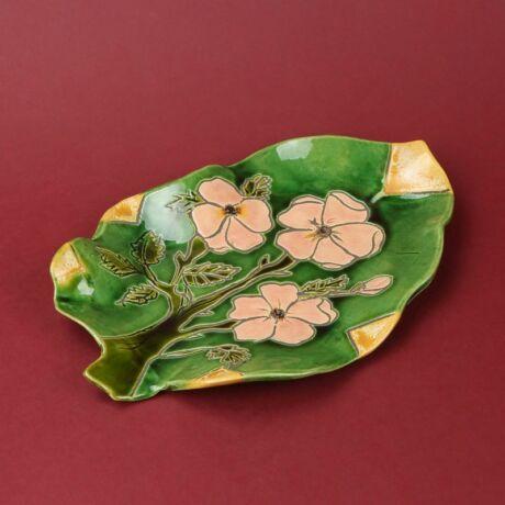 Levél alakú virágos kínáló tál