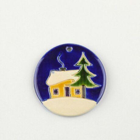 Karácsonyfadísz  házikó kék