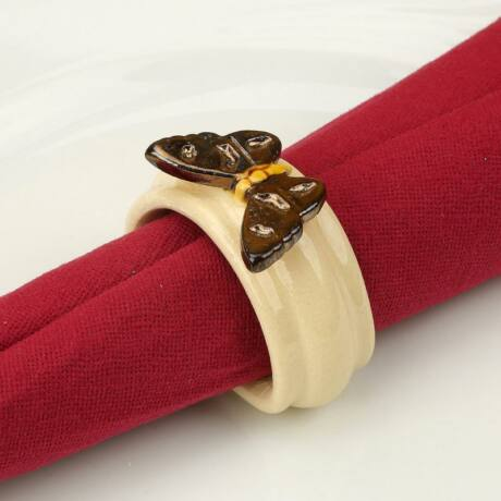 Kerámia szalvétagyűrű - pillangó arany