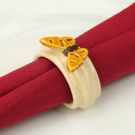 Kerámia szalvétagyűrű - pillangó sárga