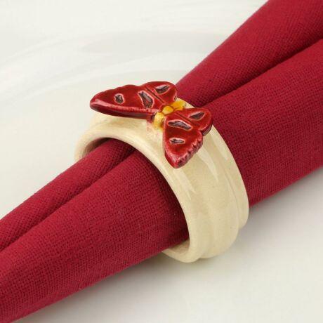 Kerámia szalvétagyűrű - pillangó piros