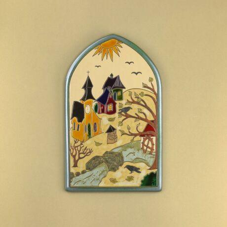 Őszi falu csúcsíves kép