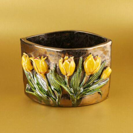 Sárga tulipános kaspó