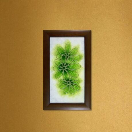 Margaréták üvegkép - zöld