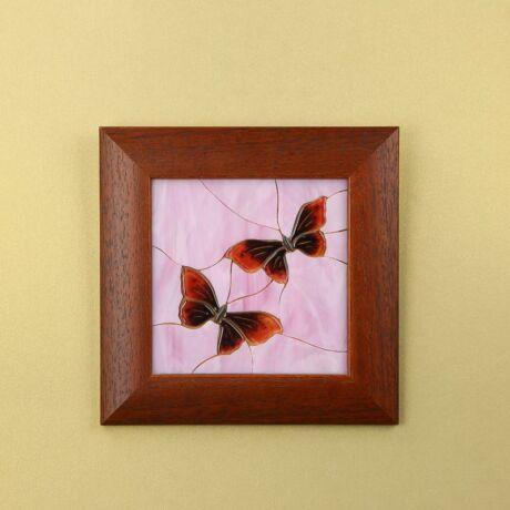 Pillangós mozaik üvegkép, barna