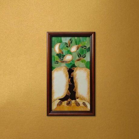Életfa mozaik üvegkép zöld