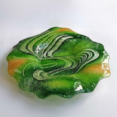 Fésűs zöld kerek üvegtál