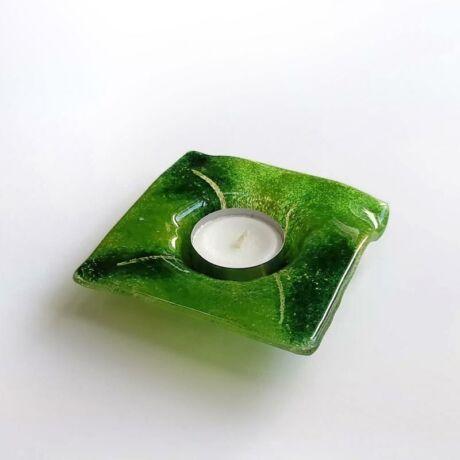 Zöld szögletes üveg mécsestartó