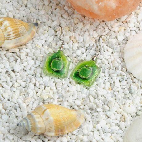 Zöld buborékos kocka üveg fülbevaló