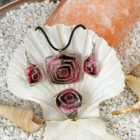 Rózsaszín-lila buborékos kocka üveg ékszer szett
