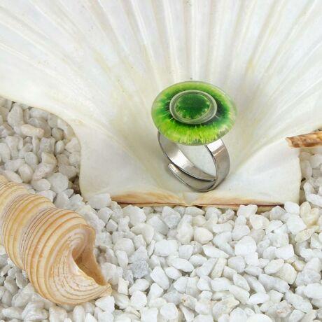 Zöld kerek buborékos üveg gyűrű