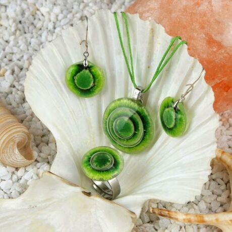 Zöld kerek buborékos üveg ékszer szett