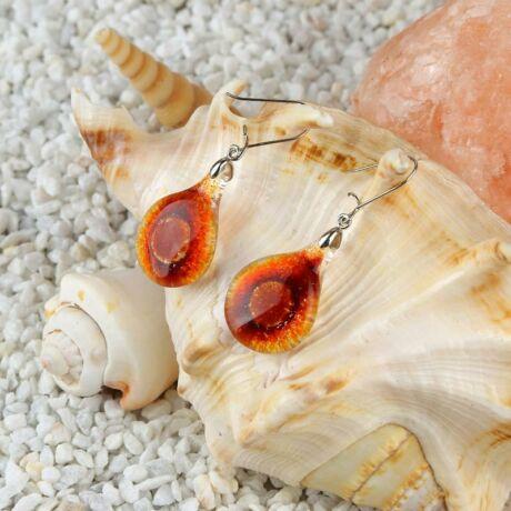 Narancs-piros kerek buborékos üveg fülbevaló