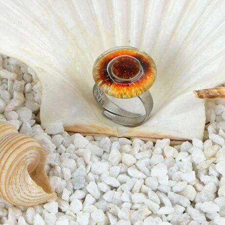 Narancs-fekete kerek buborékos üveg gyűrű