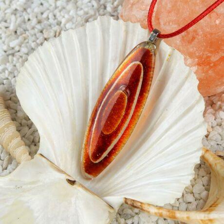 Nagy piros-narancs ovális buborékos üveg nyaklánc