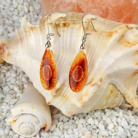 Piros-narancs ovális buborékos üveg fülbevaló