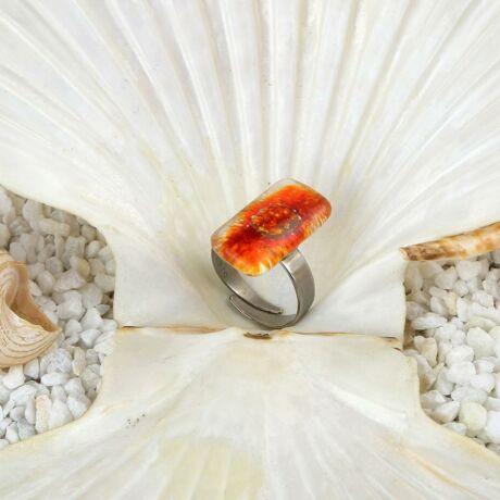 Piros-narancs hosszúkás buborékos üveg gyűrű