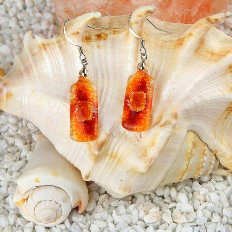 Piros-narancs hosszúkás buborékos üveg fülbevaló