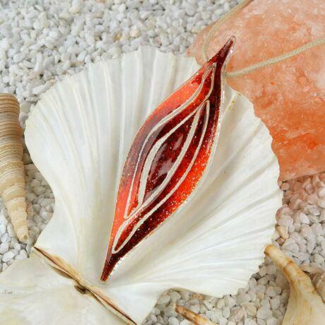 Hórusz szeme - meggypiros-narancs üveg nyaklánc