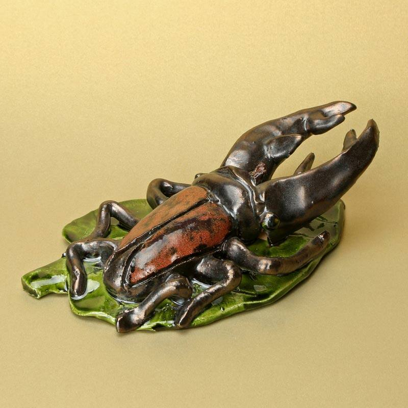 Levélen ülő szarvasbogár