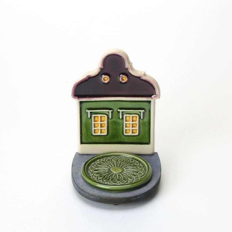 Kerámia mécsestartó lila-zöld házikó