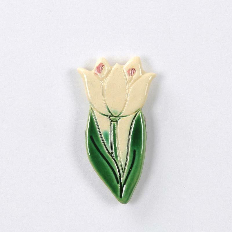 Tulipán hűtőmágnes fehér