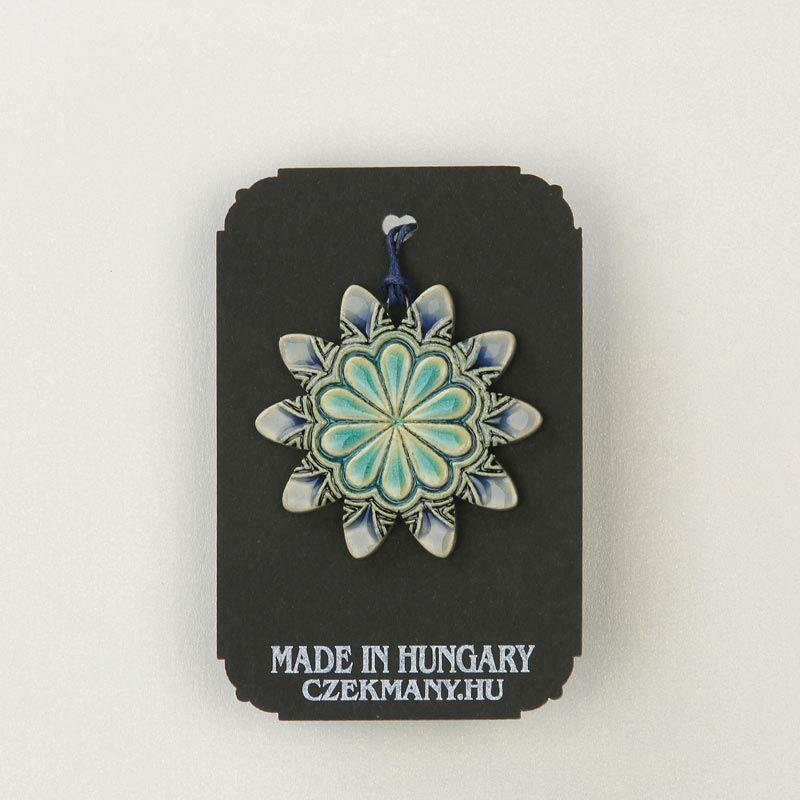 Virágos kerámia mandala medál 16