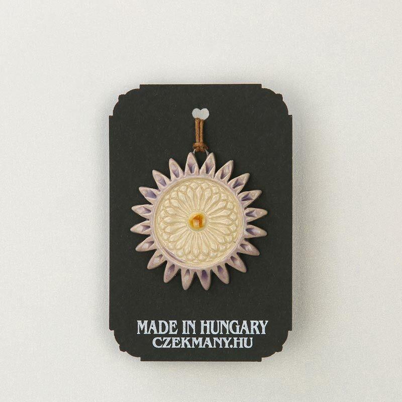 Virágos kerámia mandala medál 18