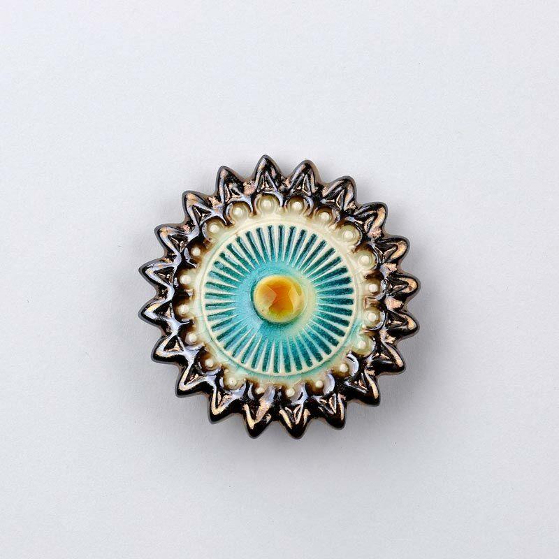 Kerámia csillagvirág - arany - türkiz