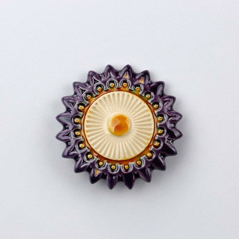 Kerámia csillagvirág - lila - fehér