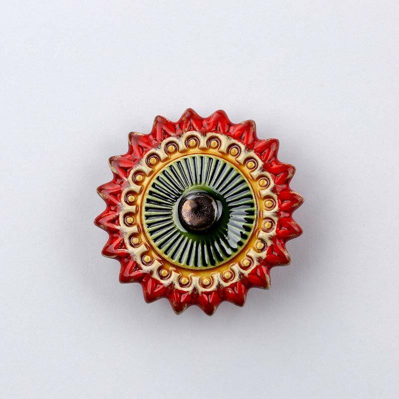 Kerámia csillagvirág - piros - arany
