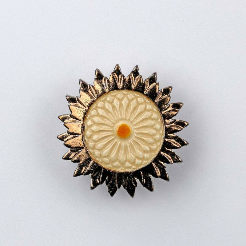 Kerámia napraforgó - arany - fehér