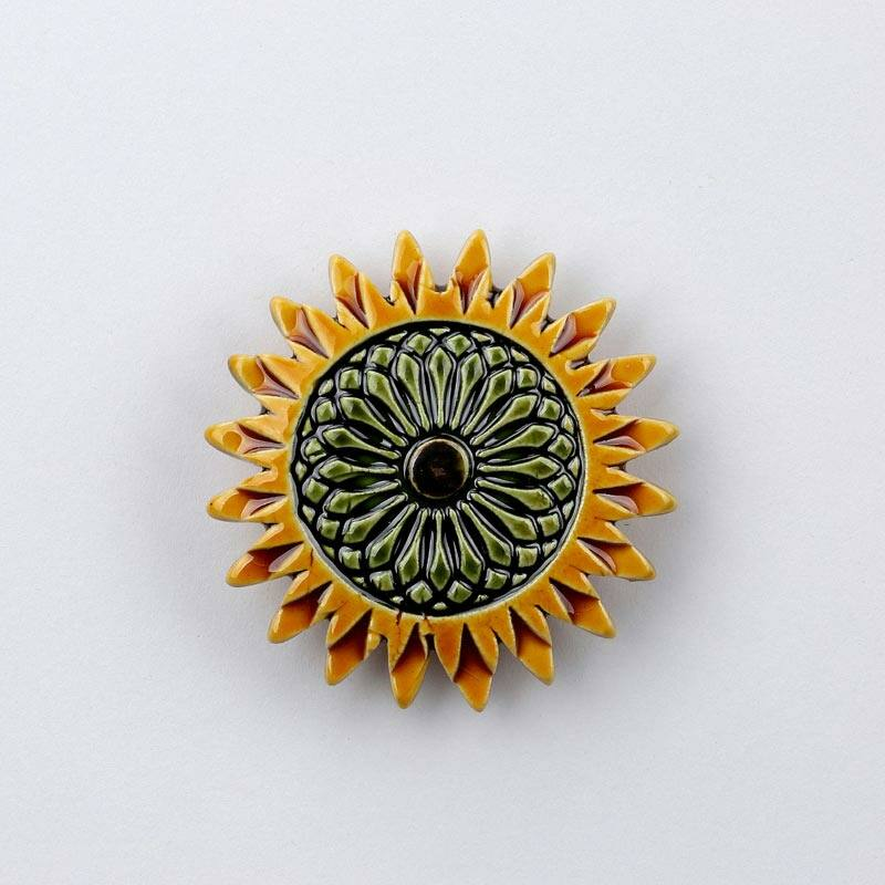 Kerámia napraforgó - sárga - zöld