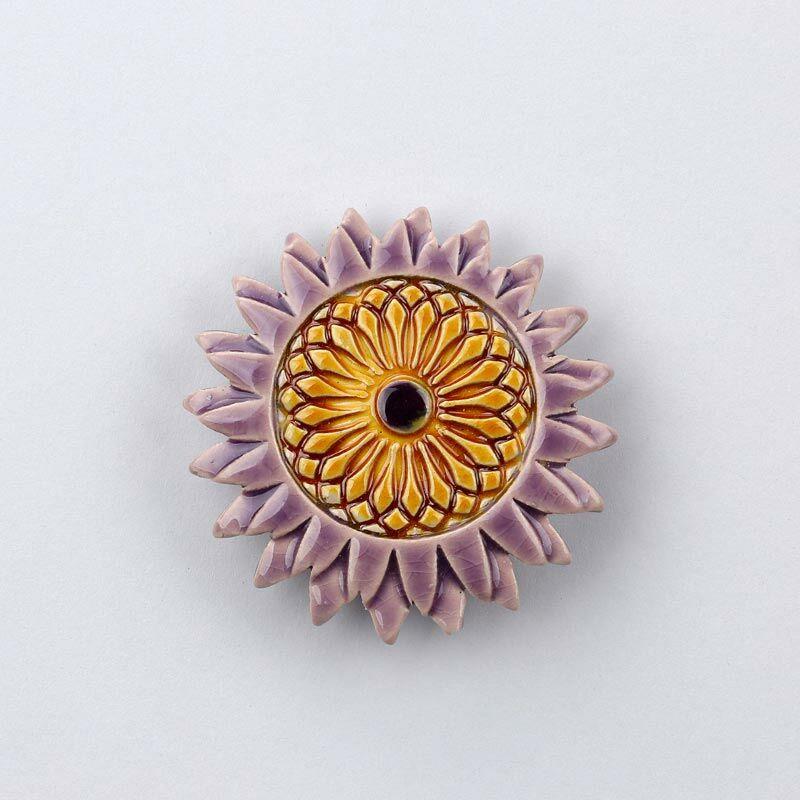 Kerámia napraforgó - lila - sárga