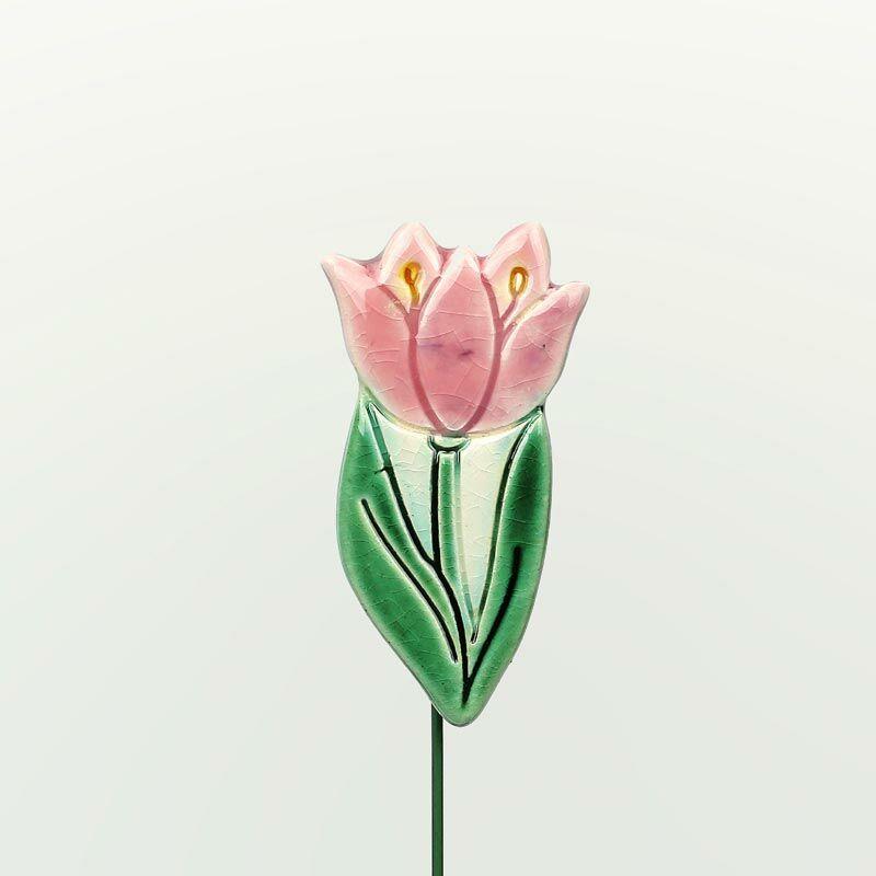 Beszúrható kerámia figura - rózsaszín tulipán