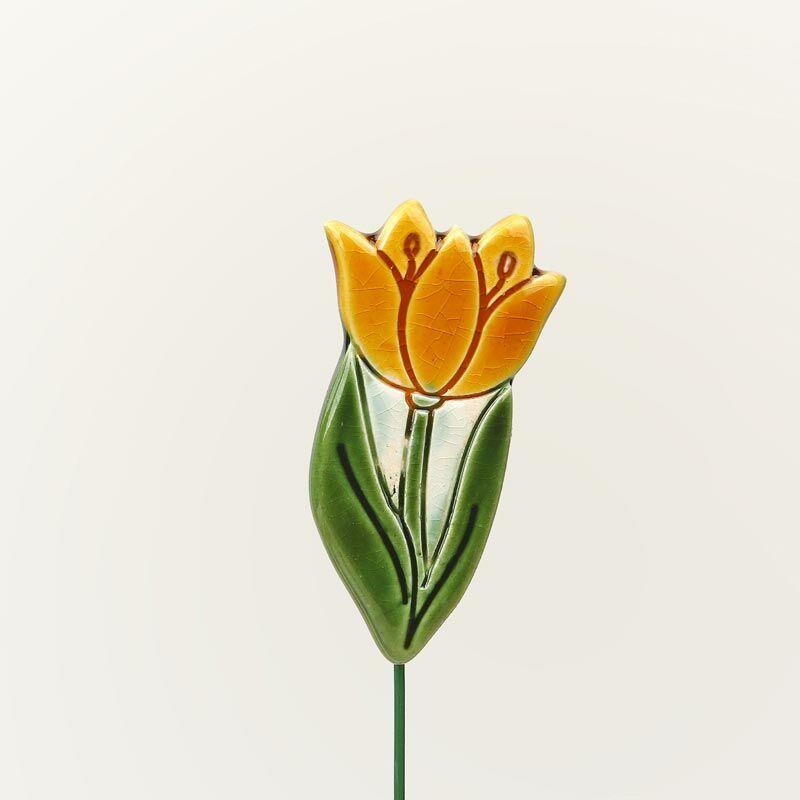 Beszúrható kerámia figura - sárga tulipán