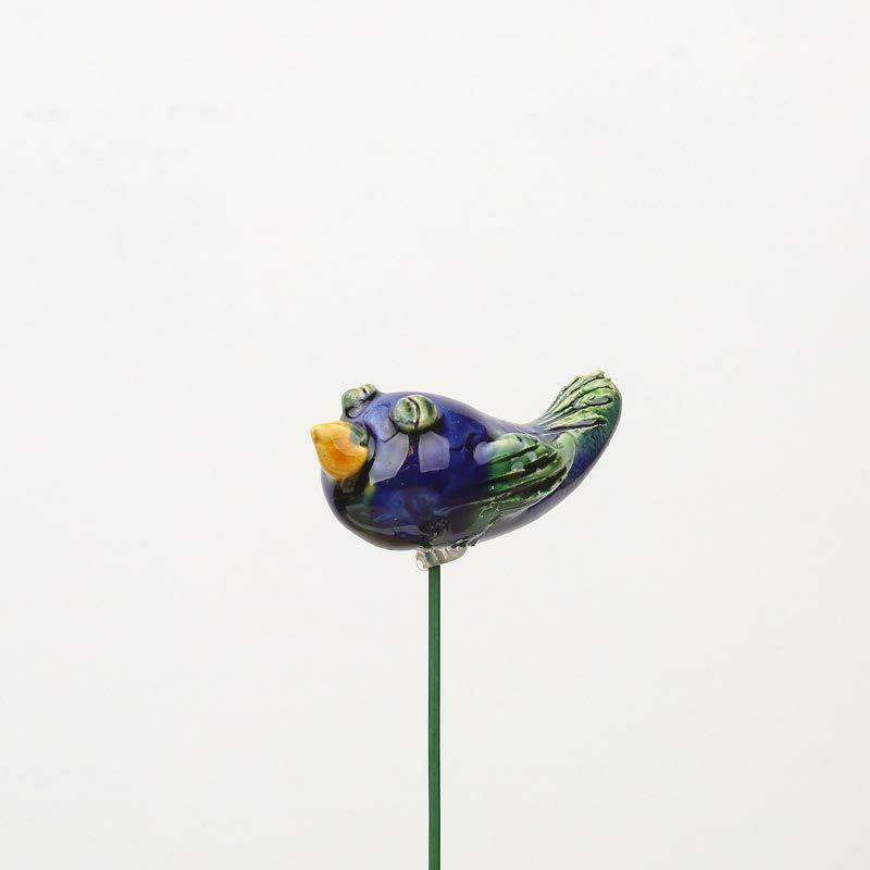 Beszúrható kerámia figura - kék madárka