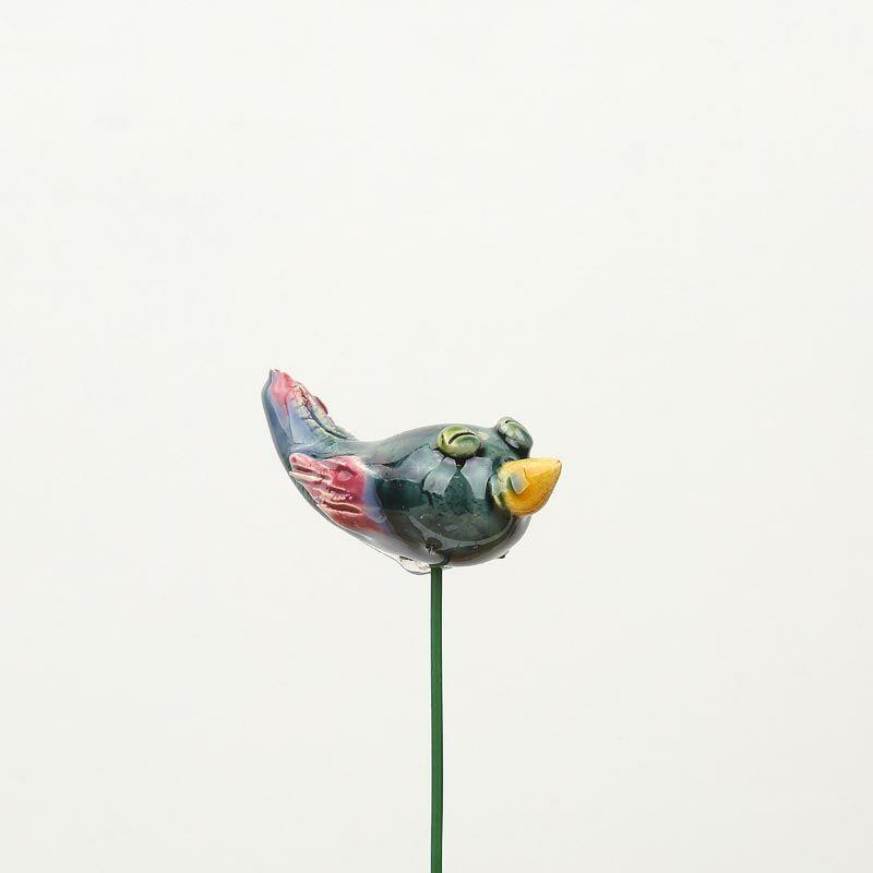 Beszúrható kerámia figura - zöld madárka