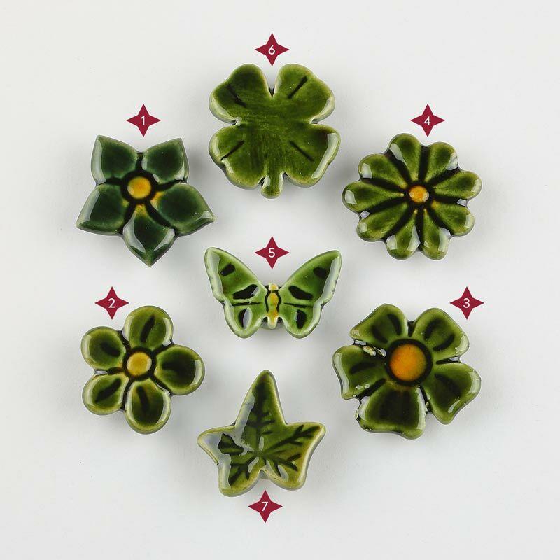 Zöld mini kerámia virág