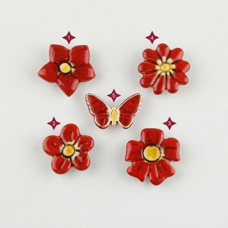 Piros mini kerámia virág